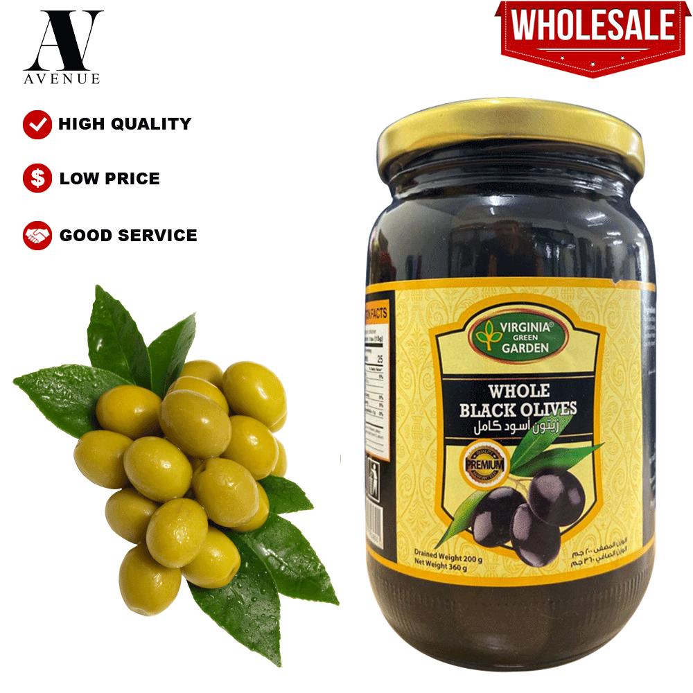 Virginia Green garden Whole Black Olives 200g زيتون أسود كامل