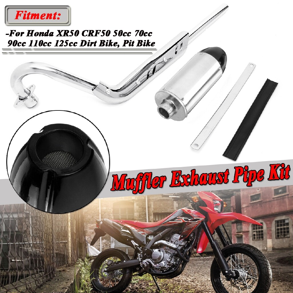 Moto Accessories - Chrome Exhaust Down Pipe Muffler For Honda XR50R CRF50F 70cc 110cc 125cc PitBike - Motorcycles, Parts