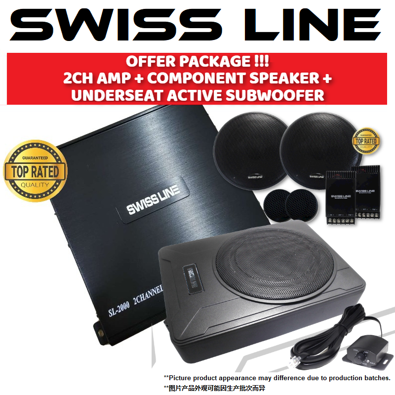 "SWISS LINE Package 2 Channel Car Power Amp + 6.5"" Mid-Bass Crossover Tweeter Component Set Car Speaker + UnderSeat Active Subwoofer"
