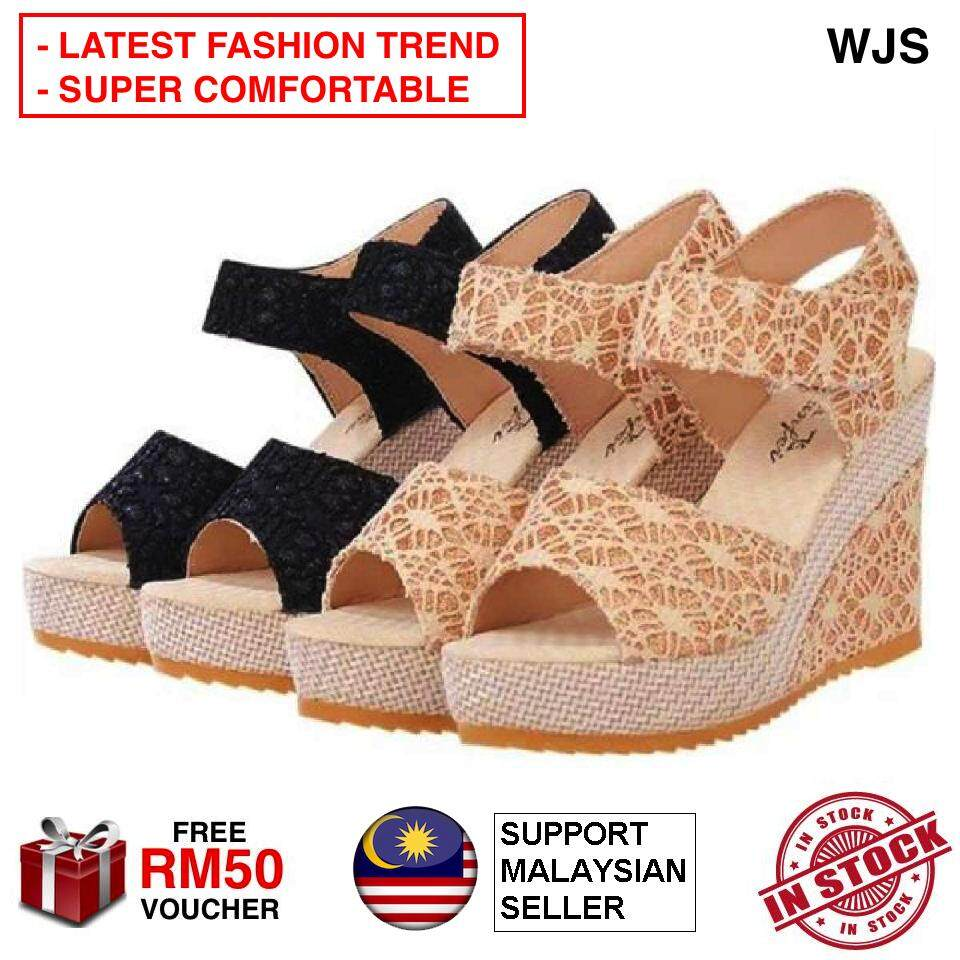 (LATEST FASHION TREND) WJS Lace Wedges Lady Shoe Sandal Kasut Tinggi Cantik Women Highheel High Heels Cover Flat heel Perempuan for Raya Murah Pretty Hadiah Gift Korea Japan [FREE RM 50 VOUCHER]