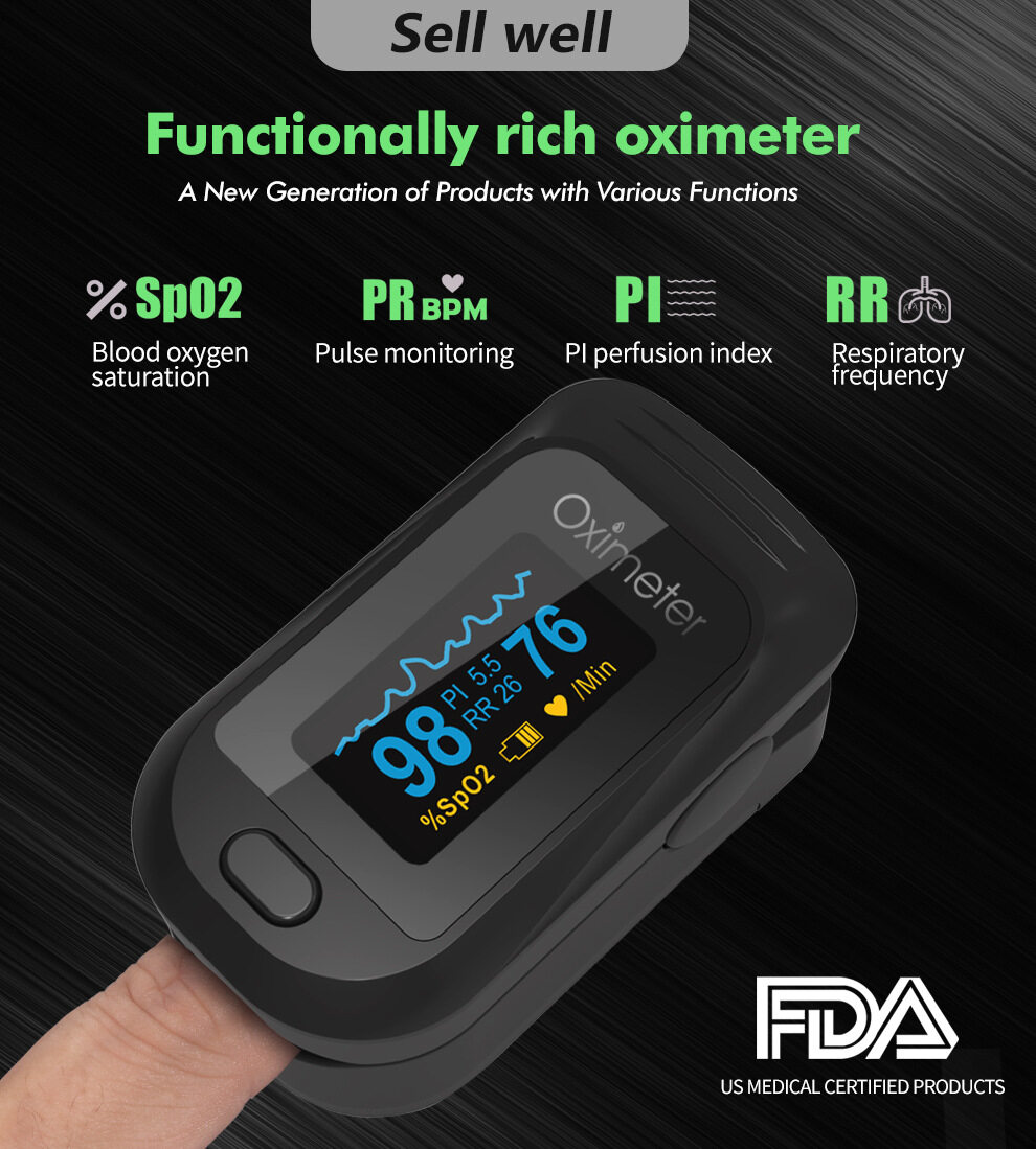 【Ready Stock in Malaysia】Finger Pulse Oximeter Omron Fingertip Household Omron Oximeter Oxygen Saturation & Heart Rate Detection Clip Oxygen Saturation Monitor PI respiratory Rate Heart Rate Meter