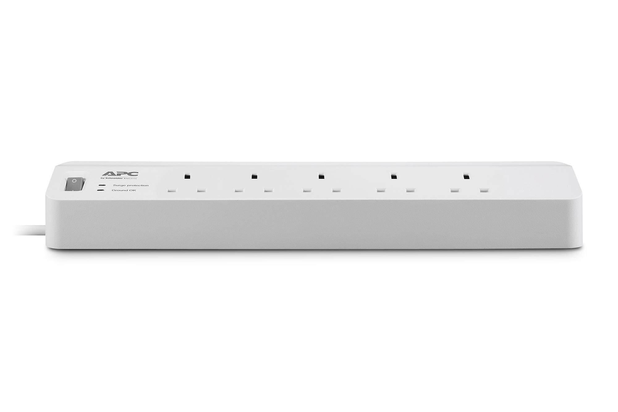 APC PM5-UK Surge Protector 5-Plugs 2M Extension Socket (Single / Twin Pack)
