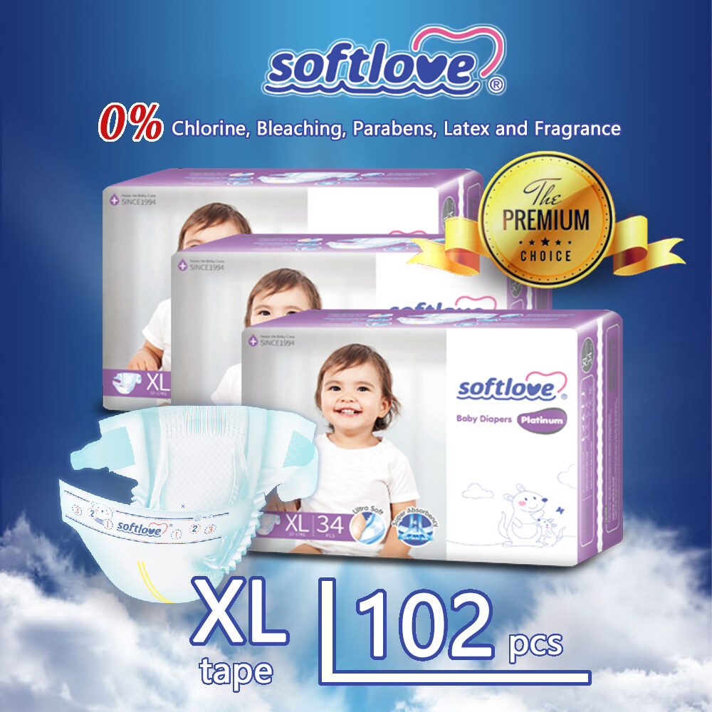 SSoftLove Platinum Super Combo Baby Diapers ( Tape ) / XL size - 102pcs