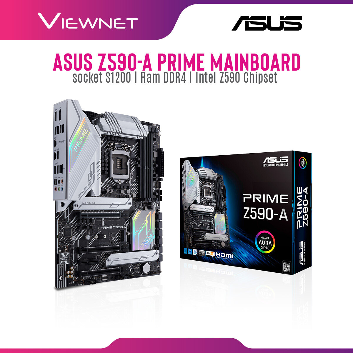 Asus Z590-A Prime Mainboard Intel® Z590 (LGA 1200) ATX motherboard three M.2 slots front panel USB 3.2 Gen 1 Type-C®, Thunderbolt™ 4 support, and Aura Sync RGB lighting
