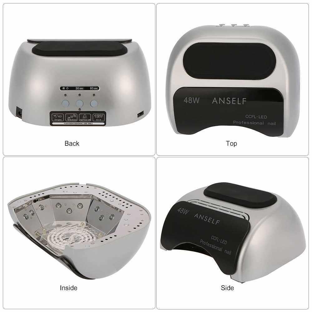 Anself 48W LED + CCFL Nail Lamp Nail Gel Dryer Nail Curing Machine Fingernail & Toenail Gel Curing 110-240V Nail Art Painting Salon Tool Gray US Plug (Gray)