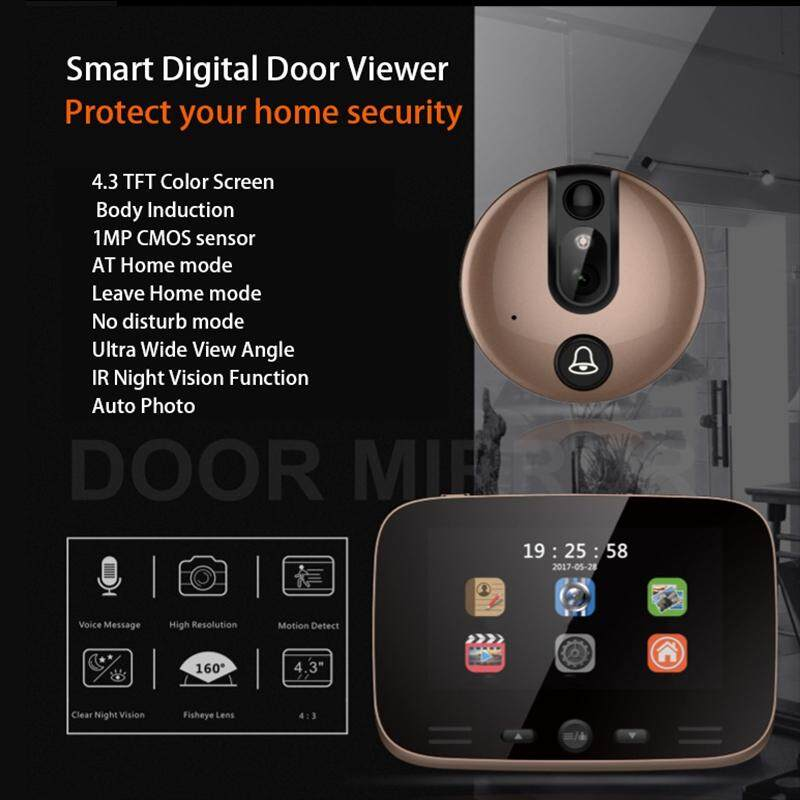 Sensors & Alarms - 4.3'' LCD Digital Door Viewer Peephole Eye Doorbell Video IR Camera Security UK - BLUE / GOLD