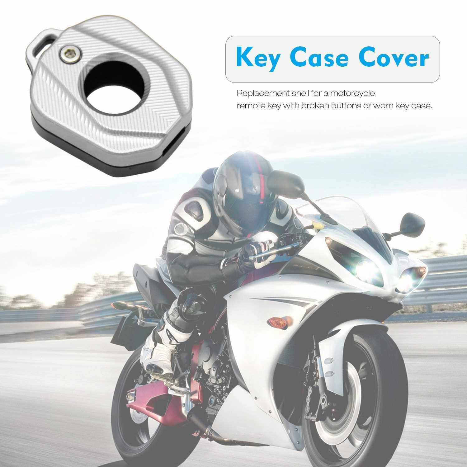 Aluminum Key Case Cover Shell Key Blade Motorcycle Key Case Decorative Protector Cover Replacement for Honda (Silver)