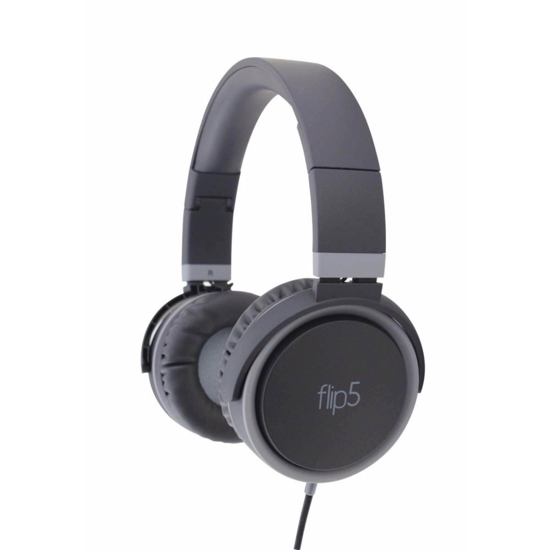 Vinnfier Wired Flip 5 Headphone (Black Grey/Black Red)