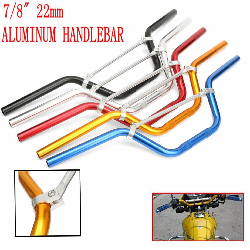 Moto Accessories - 7/8 22MM Motorcycle Aluminum Handle Bar Dirt Pit Bike ATV Quad & Cross Bar - BLUE / GOLD / RED / SILVER / BLACK
