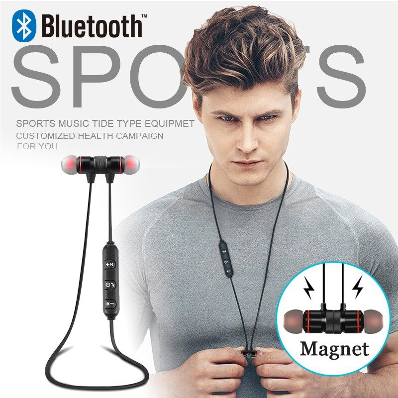 BLUETOOTH Earphones WIRELESS Stereo Bass Head SET Sport Magnetic Earbuds with Mic for - RED&GOLD / BLACK / BLACK&GOLD