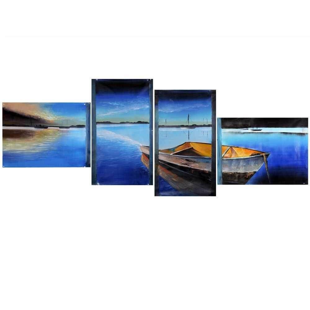 4pcs Unframed Hand-painted Oil Painting Set Sky and Sea Canvas Print Decoration for Home Living Room Bedroom Office Art Picture
