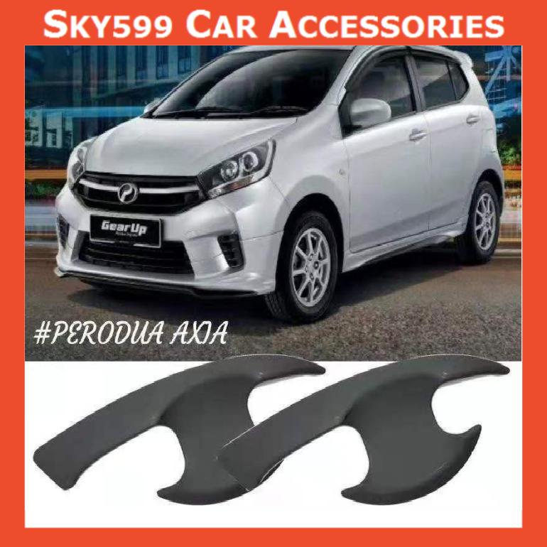 Perodua Axia 2014-2020 Matte Black Door Handle Inner Bowl Inserts Cover 4pcs