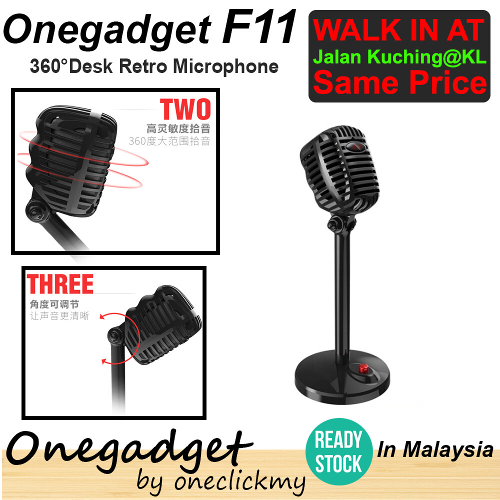 [READY STOCK]Onegadget F11 Retro  Desk Microphone Computer Microphone 360° Adjustable Speech Microphone Gaming