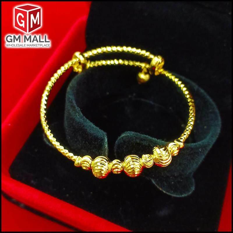 Emas Korea Jewellery - Laras Gelang Tangan BUDAK Bulan Sabit Biji Gold Plated Adjustable (Kid Bangle)