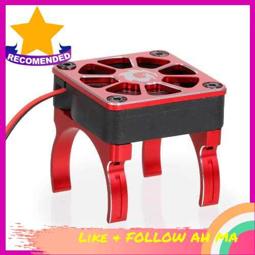 Best Selling RC Motor Heatsink Cooling Fan with 2 Clamps & Adapter Cable for 540 550 Series Brushed Motor Compatible with RC Car Traxxas Hsp Redcat TRX-4 Axial Scx10 RC4WD Tamiya D90 Hpi Crawler Car (Red)