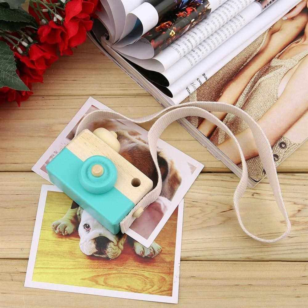 Cute Wooden Toy Camera Kids Girls Boys Creative Neck Camera Photo Props (Blue)