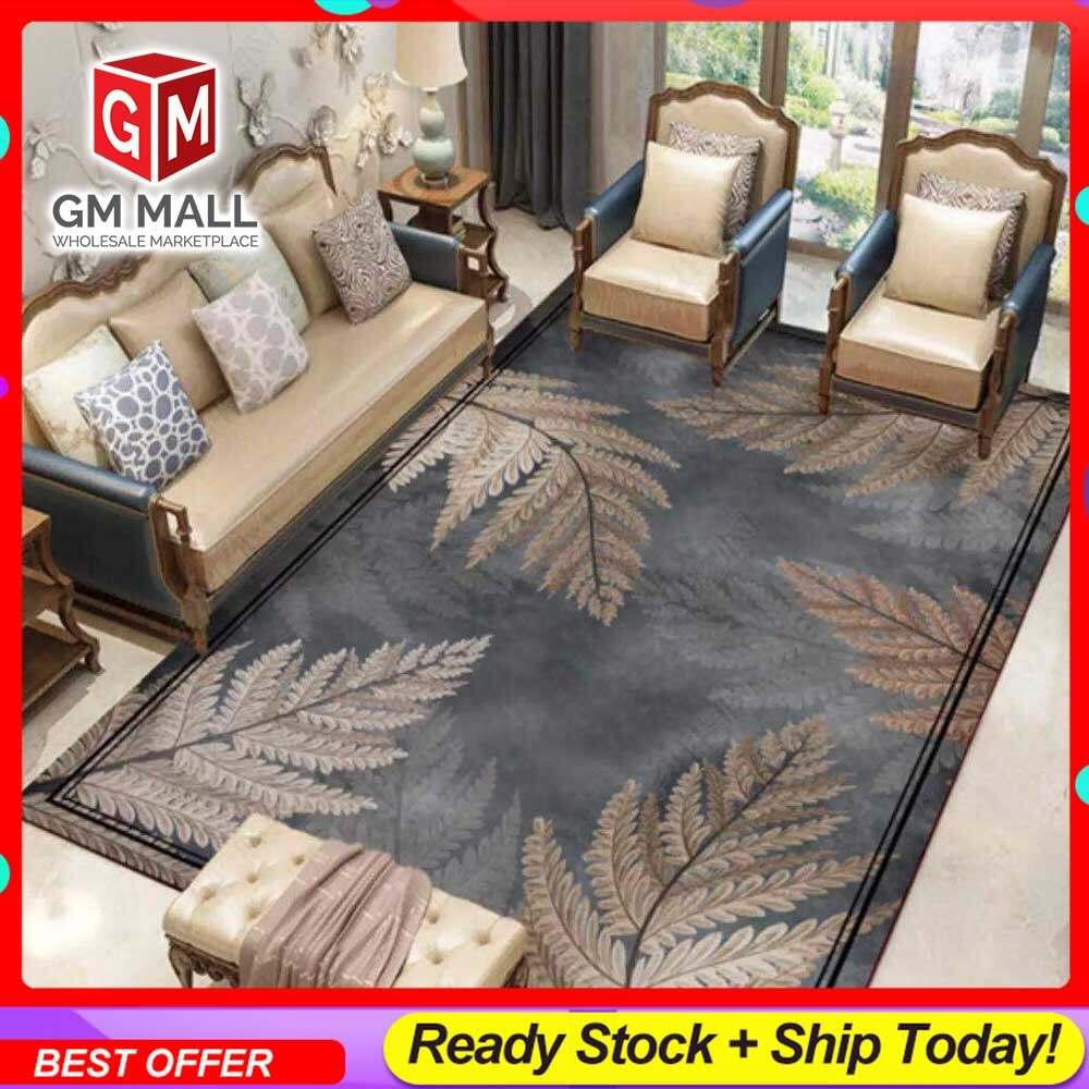 NEW DESIGN CARPET SIZE BESAR L/XL European Style Carpet Printed 3D Dark Grey Leaves Brown Mat Floor - Karpet Bercorak 3D Waterproof/Living Room/Bedroom Material Velvet (C-23)