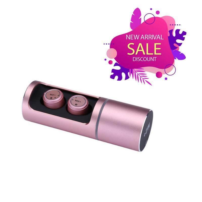 M2+ Wireless Bluetooth 5.0 Headset TWS Stereo Sport Earphone mini Stealth Microphone Earplug For Smartphone High Quality PINK