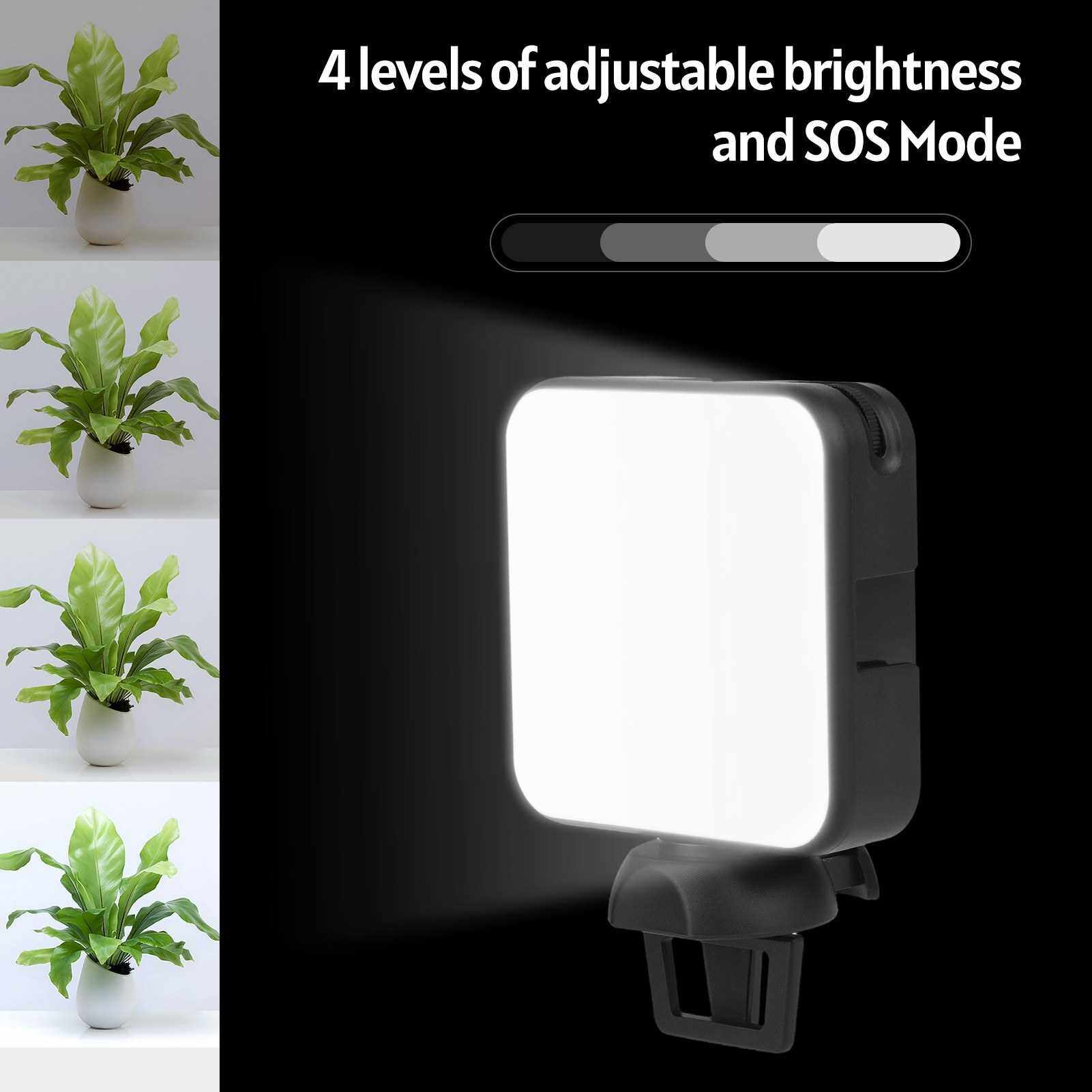 Andoer W36 Mini LED Video Light Portable Photography Light with 5600K Color Temperature Adjustable Brightness 3 Cold Shoe Mount for Live Stream Video Shooting Video Conference (Standard)