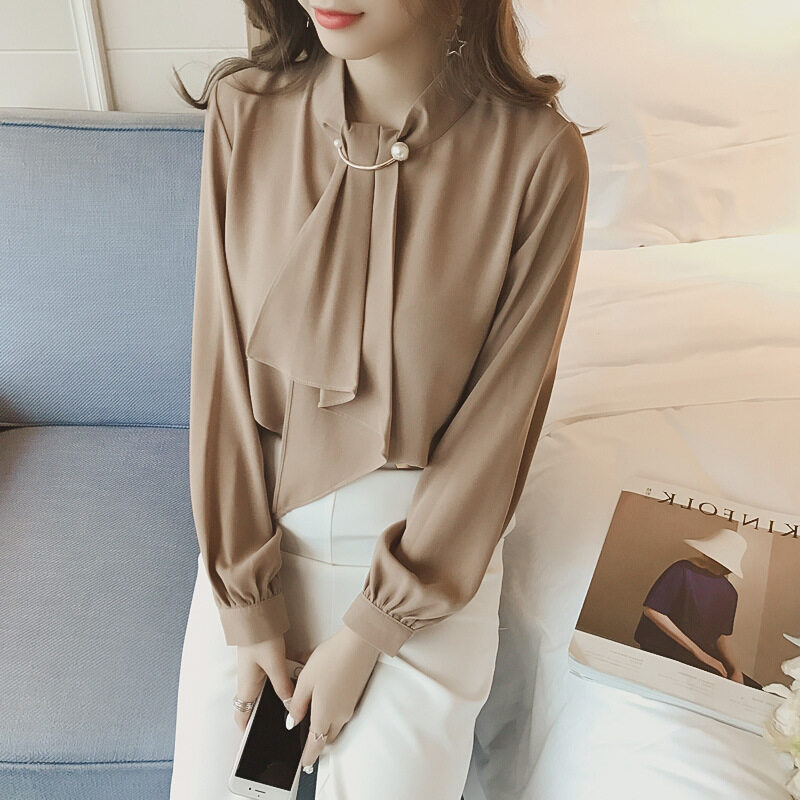 Plus Size Korean Edition Chiffon Women Blouse Shirt Summer Office Lady Solid Color Long Sleeve Shirt Blouses #9882