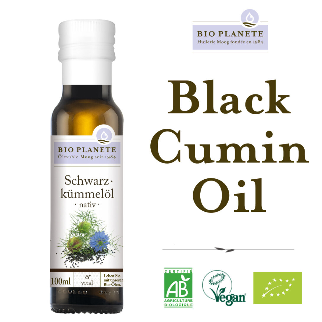 BIO PLANETE Organic Black Cumin Oil Black Seed Oil Cold Pressed Virgin (100ml) - Fully imported from Europe - 有机黑籽油 100ml
