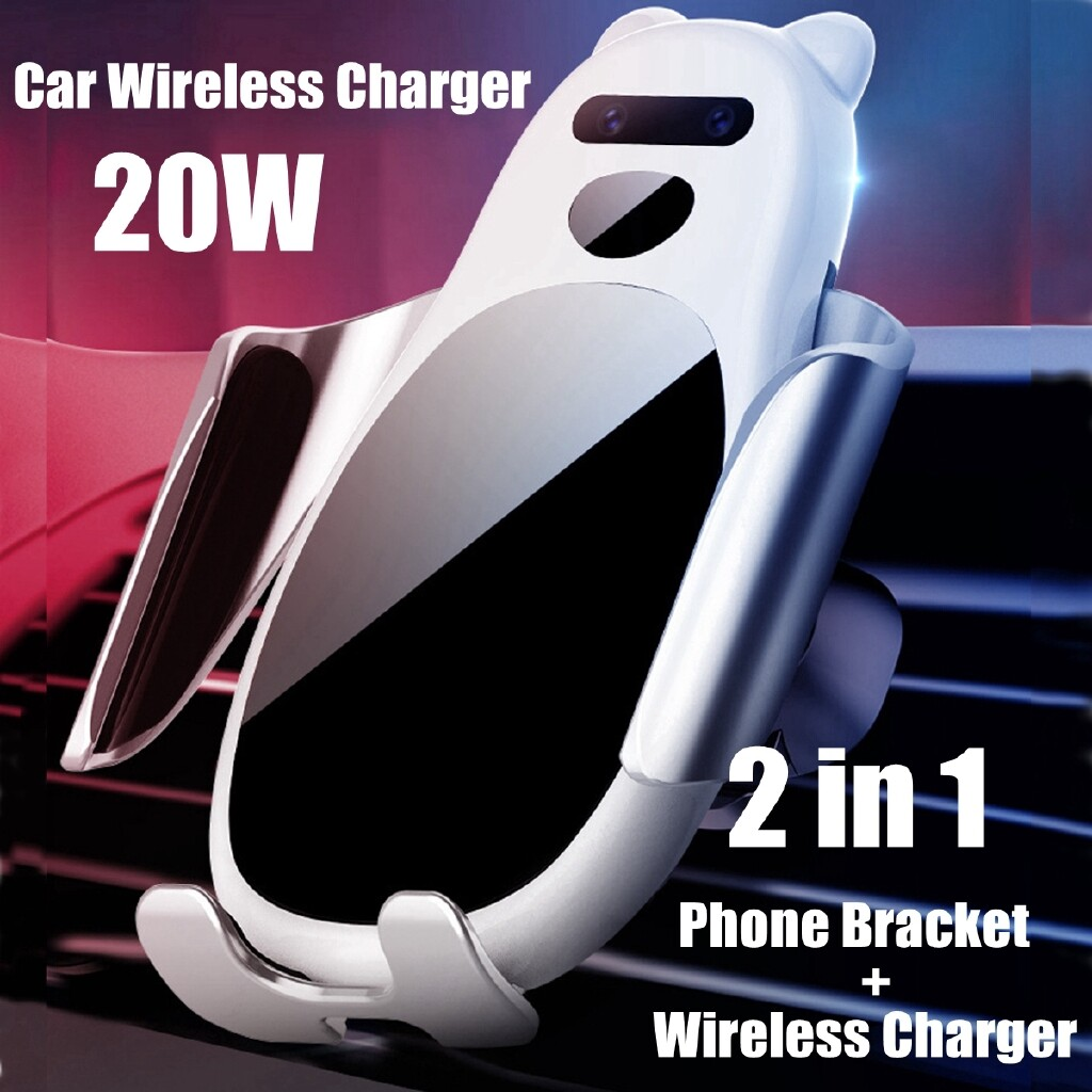 Chargers - Car Qi WIRELESS Fast Charger Bracket Holder Mount Charging For iPh Samsung - BLACK / WHITE