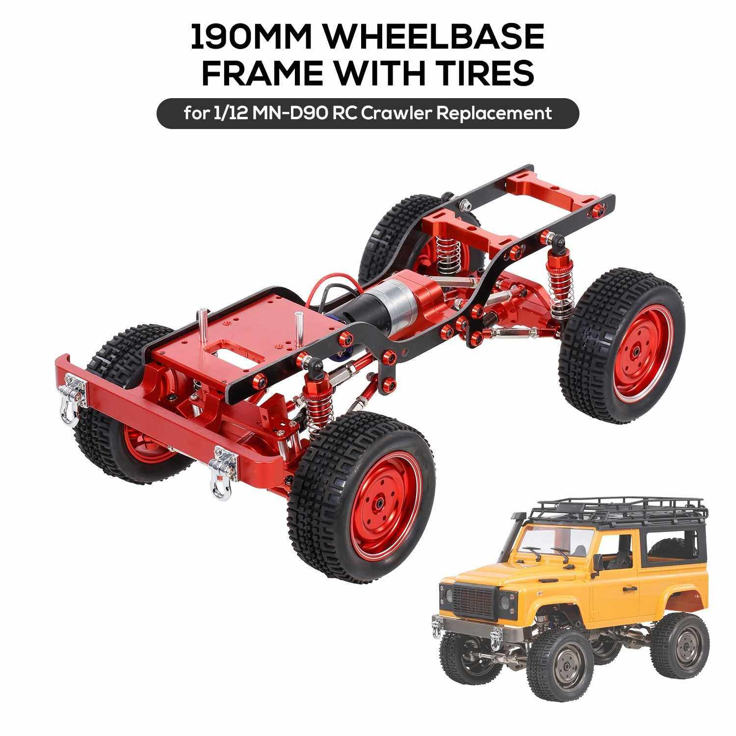 MN-D90 Replacement 190mm Full Metal Wheelbase Chassis Frame with Tires 370 Motor Gearbox for 1/12 RC Crawler Car DIY Parts (Red)