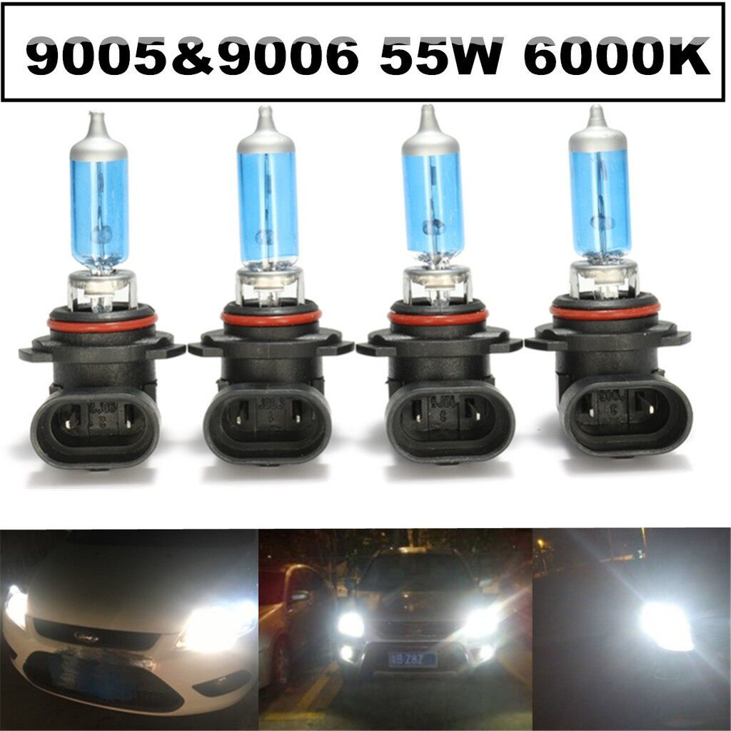 Car Lights - 4X 55W 9005/HB3 9006/HB4 6000K Xenon Halogen Headlight Lamp Bulbs High/Low Beam - Replacement Parts