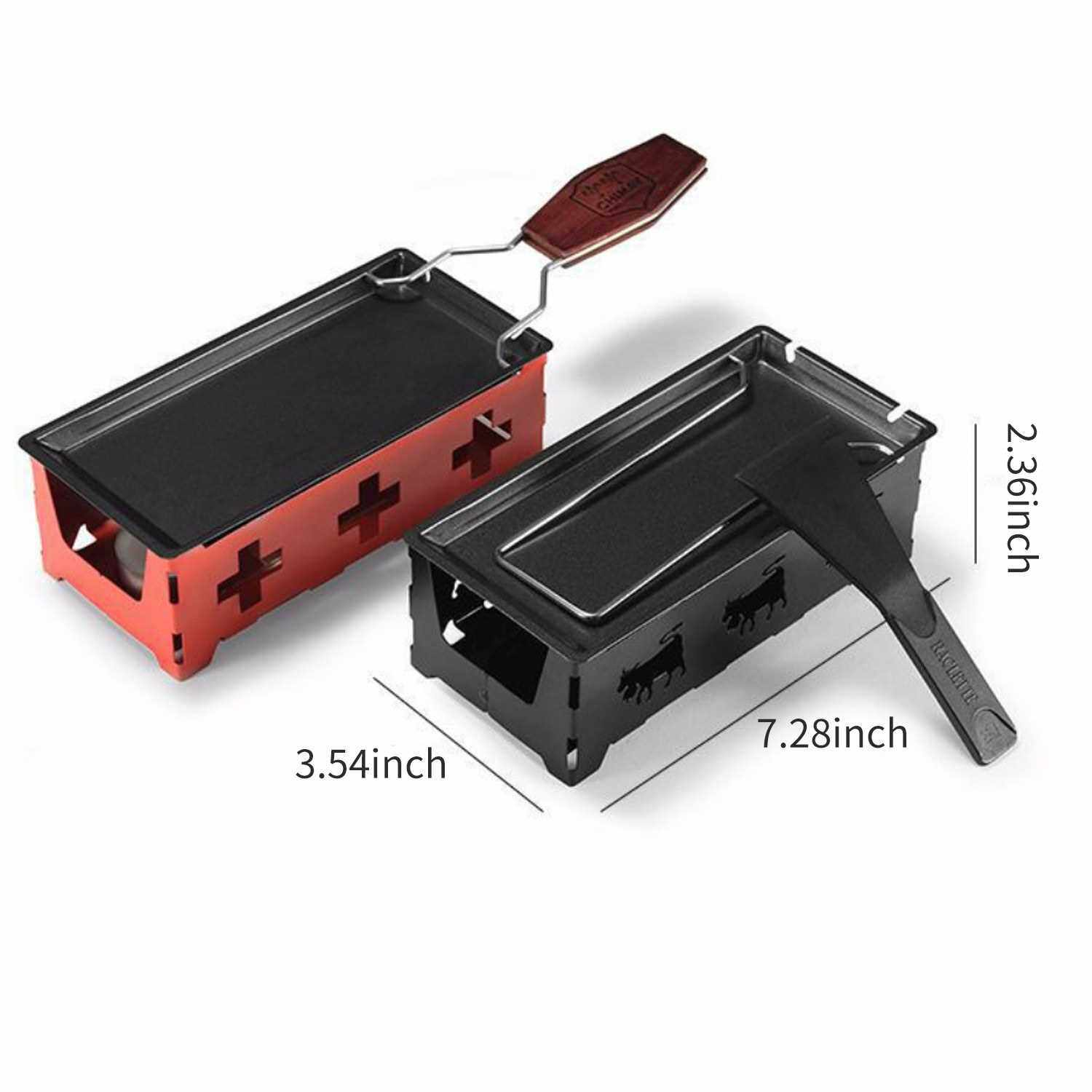People's Choice Non-Stick Raclette Grill Set Cheese Melter Pan with Spatula Foldable Wooden Handle Melted Cheese Raclette Carbon Steel Kitchen Gadgets (Black)