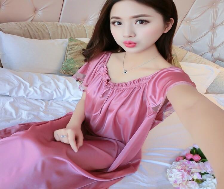 Bolster Store Ladies Women Sleepwear Sexy Lingerie Pajamas Long Dress Skirt With Sleeve Silk Comfortable Wear #328