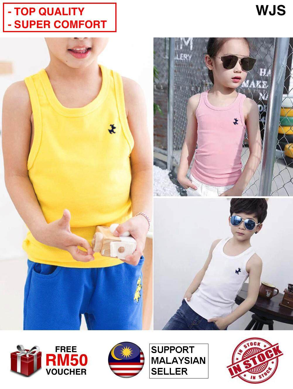 (SUPER COMFORTABLE) WJS Comfortable Cotton Kids Singlet T-shirt Boy Girls Tops Colored Kids Underwear Model Baby Camisole Toddler Undershirt Children Singlets Toddler Cloth Clothing MULTISIZE MULTICOLOR [FREE RM 50 VOUCHER]