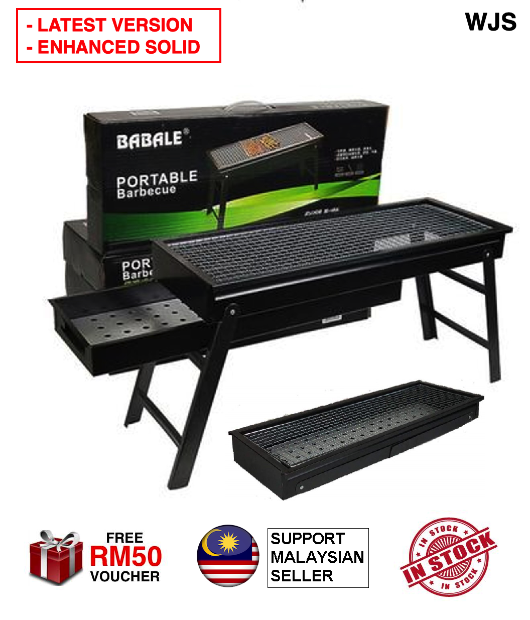 (ENHANCED SOLID) WJS Latest Version Enhanced Portable BBQ Grill Outdoor Folding Barbecue BBQ Stove Barbecue Stove Meat Cooker Grill Chicken BBQ Rack Babale BBQ Panggang Ayam SOLID BLACK [FREE RM 50 VOUCHER]