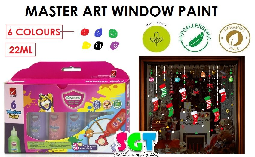 MASTER ART Window Paint 6 colours 22ml/pcs