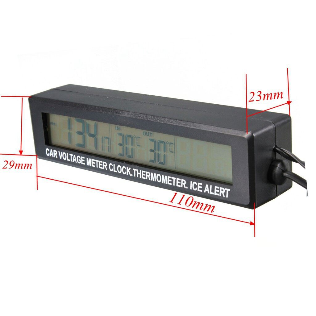 Gauges & Meters - 1 PIECE(s) Digital Car Voltage Meter Ma 12V/24V Car Voltage Meter Clock Thermometer Ice Alert - Car Accessories