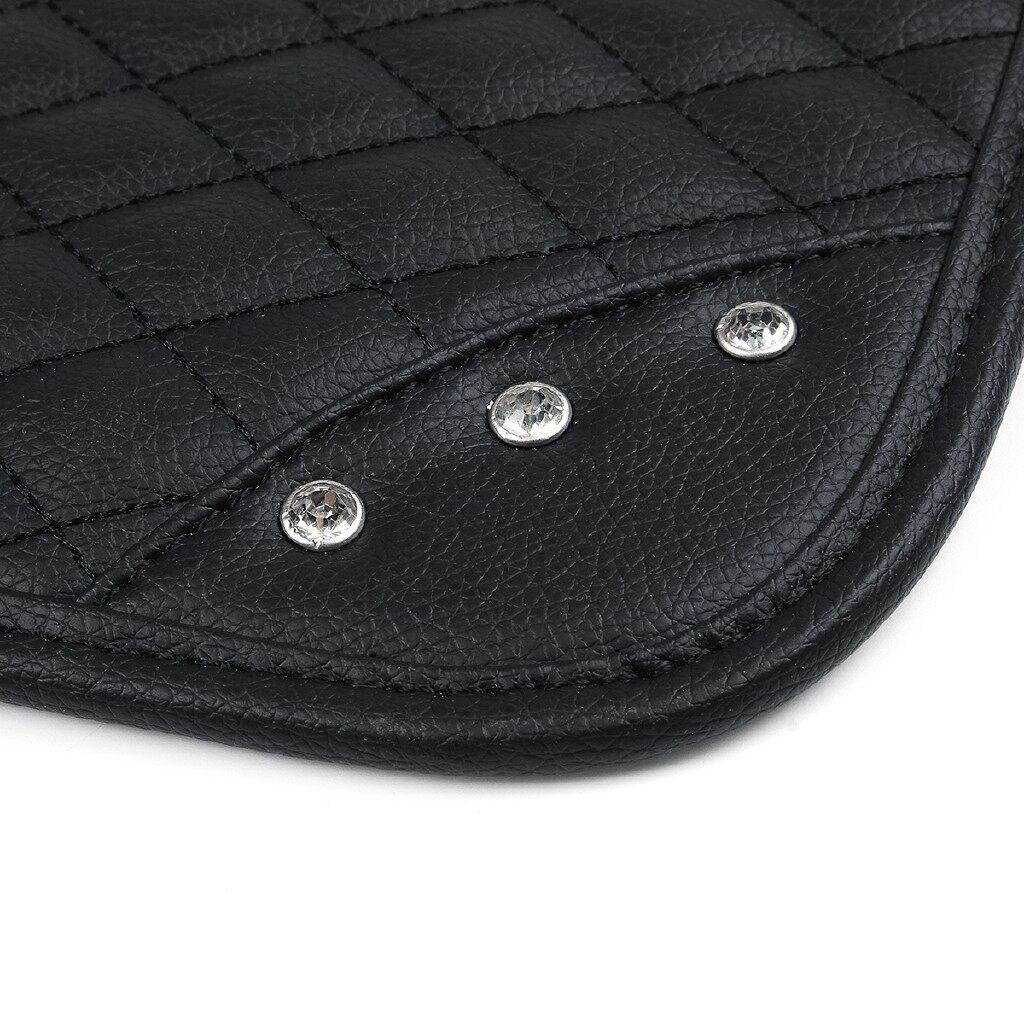 Car Accessories - Auto Center Armrest Cover PU Leather Mat Rhinestone Diamond Car Hand Box Pad - Automotive