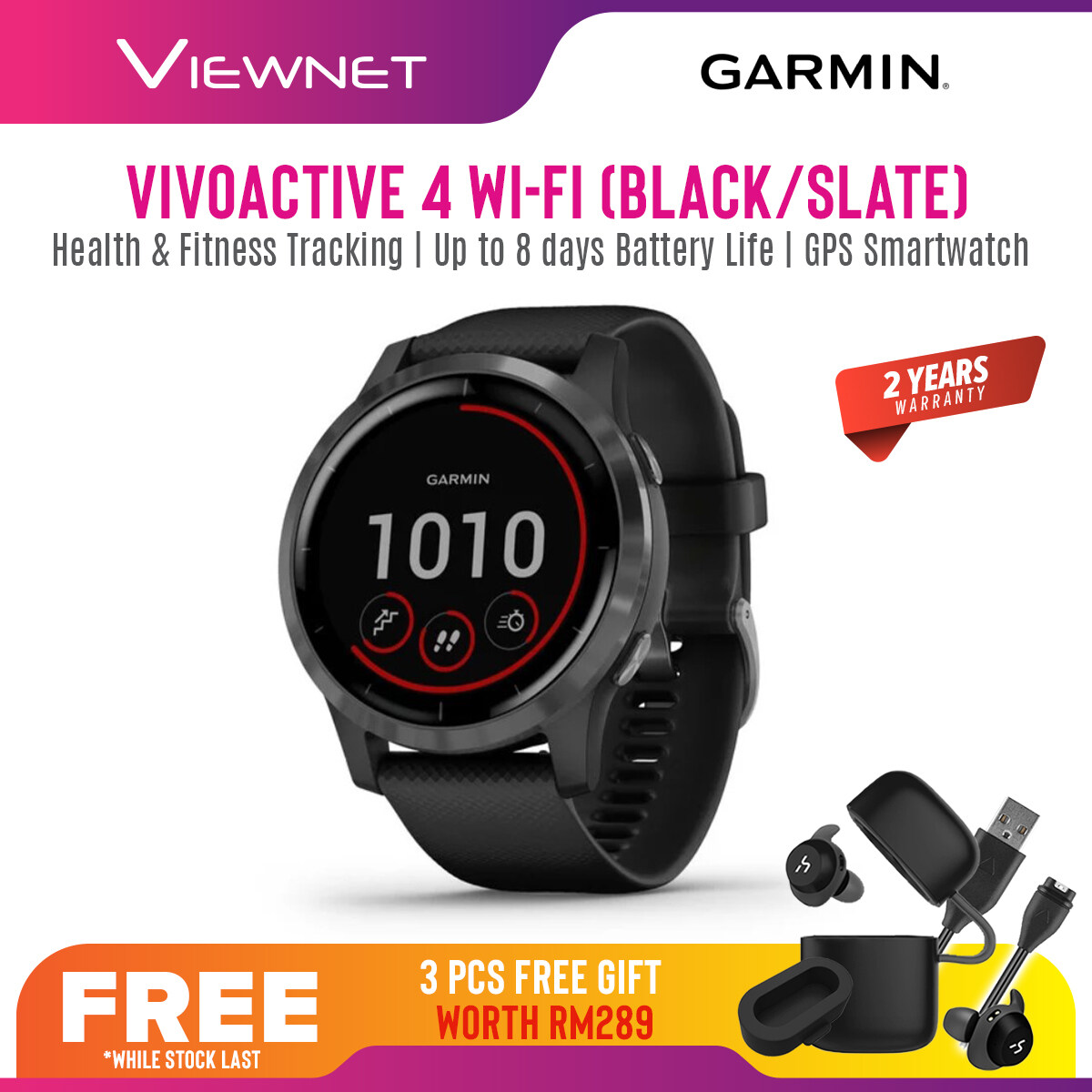 Garmin Vivoactive 4 GPS Smartwatch Fitness Tracker with Wrist Based Heart Rate Monitor