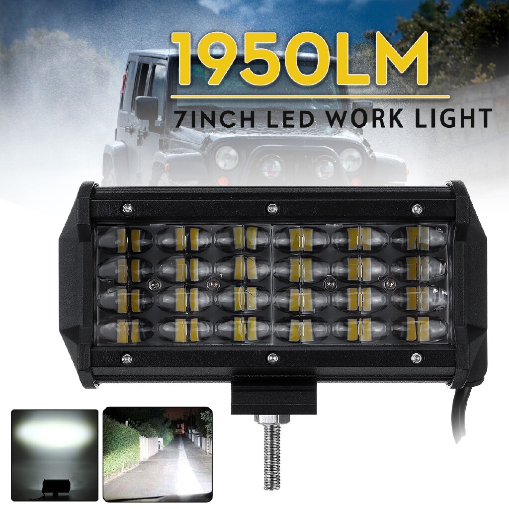 Car Lights - 7 72W 24 LED Work Light Bar Combo Driving Lamp Offroad SUV Car Truck Motorbike - Replacement Parts