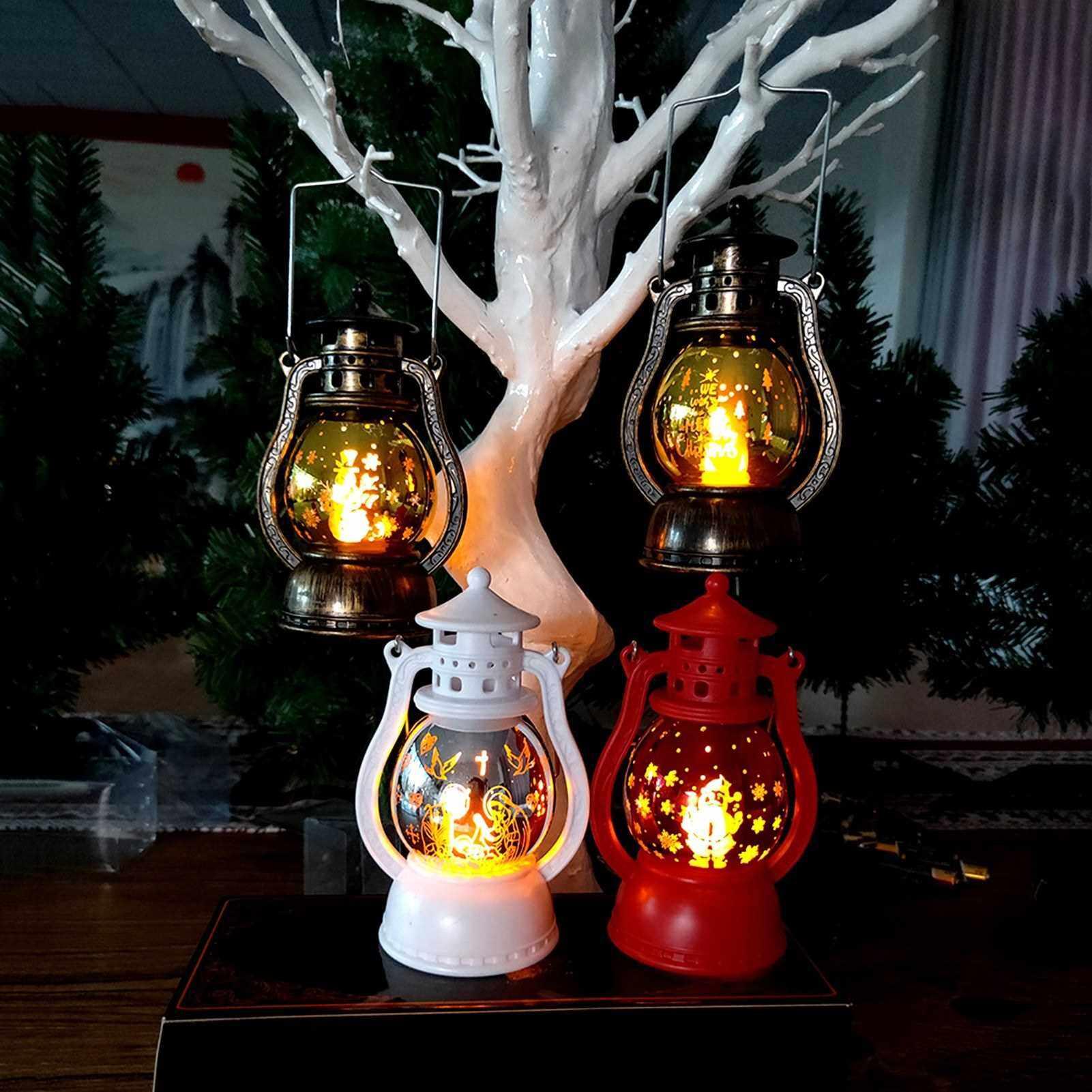 Best Selling Warm Light Storm Lantern Christmas Pattern Small Led Lamp Decoration Xmas Pendant (White)