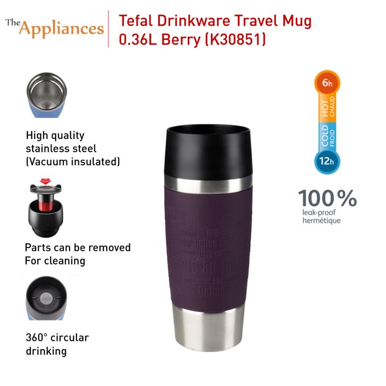 Tefal Travel Mug Berry Silver (0.36L)
