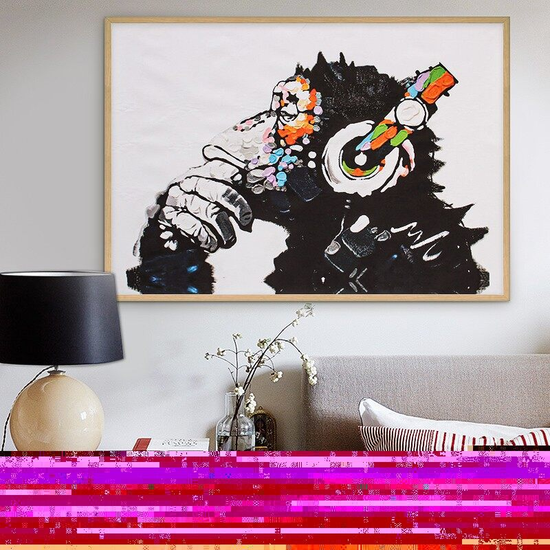 Gadgets - 75 X 50cm Unframed Abstract Canvas Print Wall Art Picture DJ MONKEY Chimp A - Cool