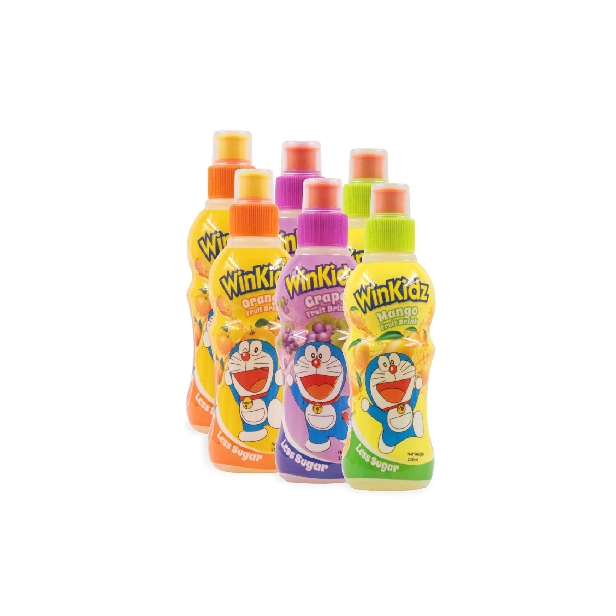 Doraemon Winkidz Fruit Drink 6 In 1 Value Set 250Ml X 6 - Mix Mango, Grape, Orange