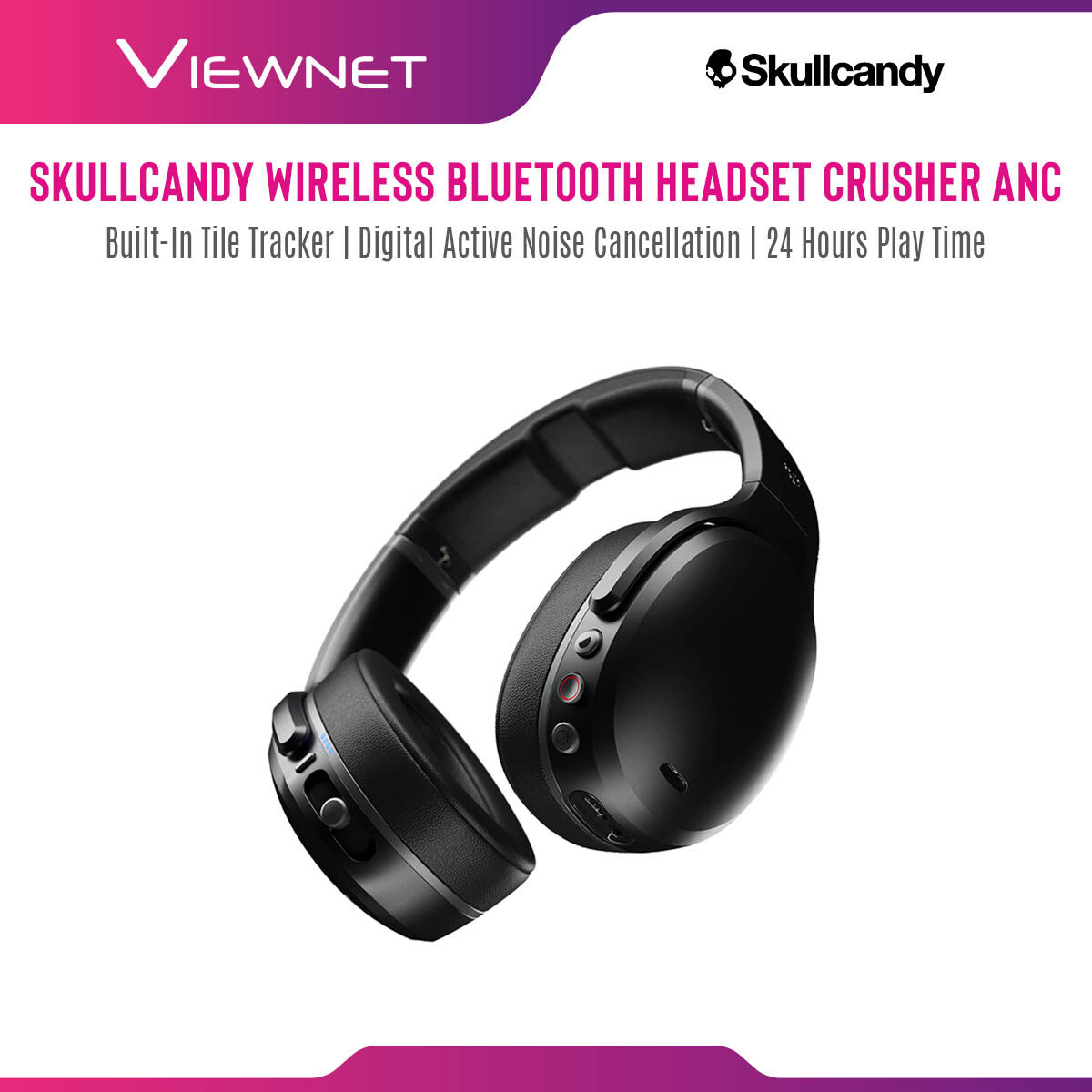 Skullcandy Crusher ANC Wireless Bluetooth Headset with Built-In Tile® Tracker, Digital Active Noise Cancellation, 24 Hours Play Time, Adjustable Sensory Bass, Personal Sound, Bluetooth Wireless Technology