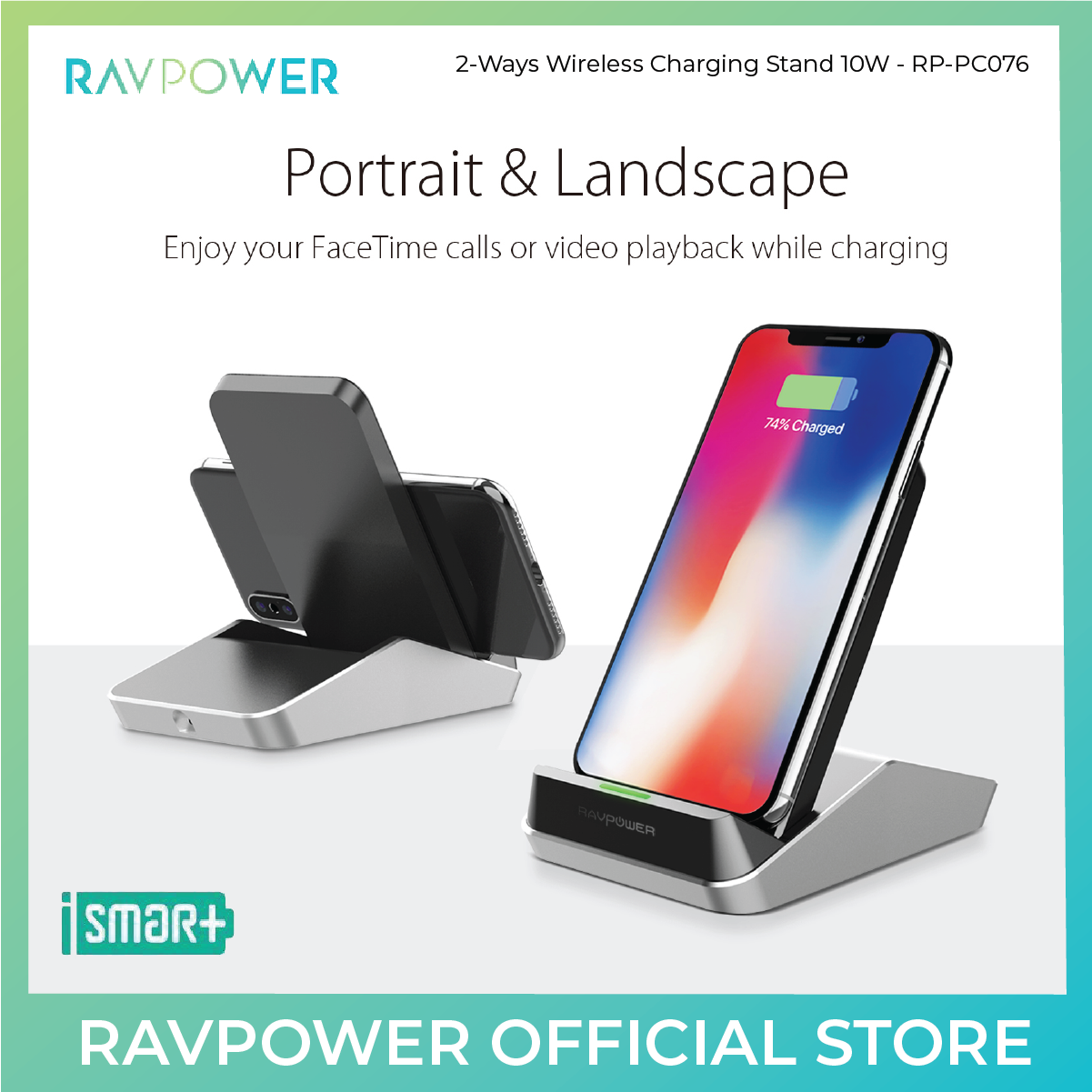 RAVPower Fast Wireless Chargers Stand - Dual Coil - RP-PC076