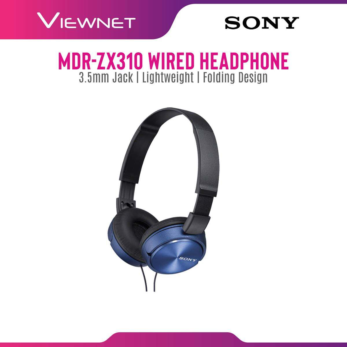 Sony MDR-ZX310 Lightweight Foldable On-ear Headphones with Padded Earcups (Black/White/Red/Blue)