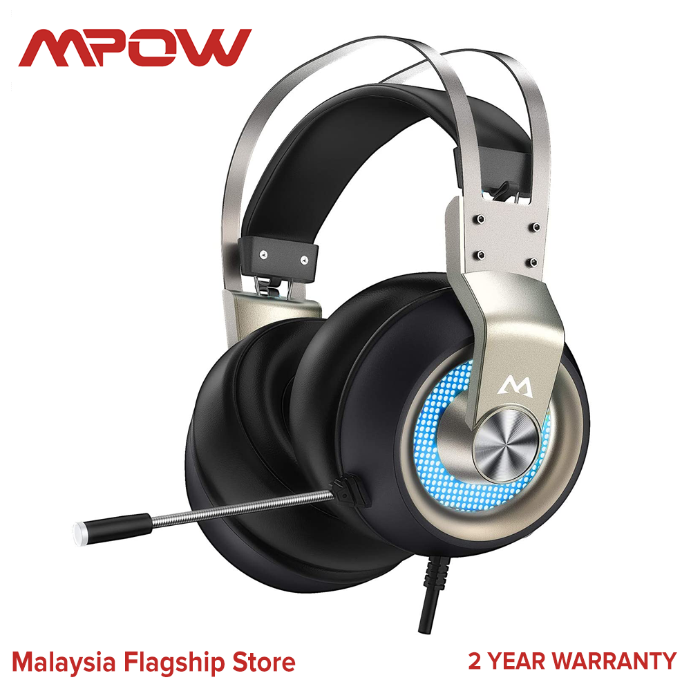 Mpow EG3 Pro Gaming Headset Xbox One Headset, PC PS4 Headset with Noise Canceling Mic & LED Light, Compatible with PC, PS4, PS5, Switch, Xbox One Controller