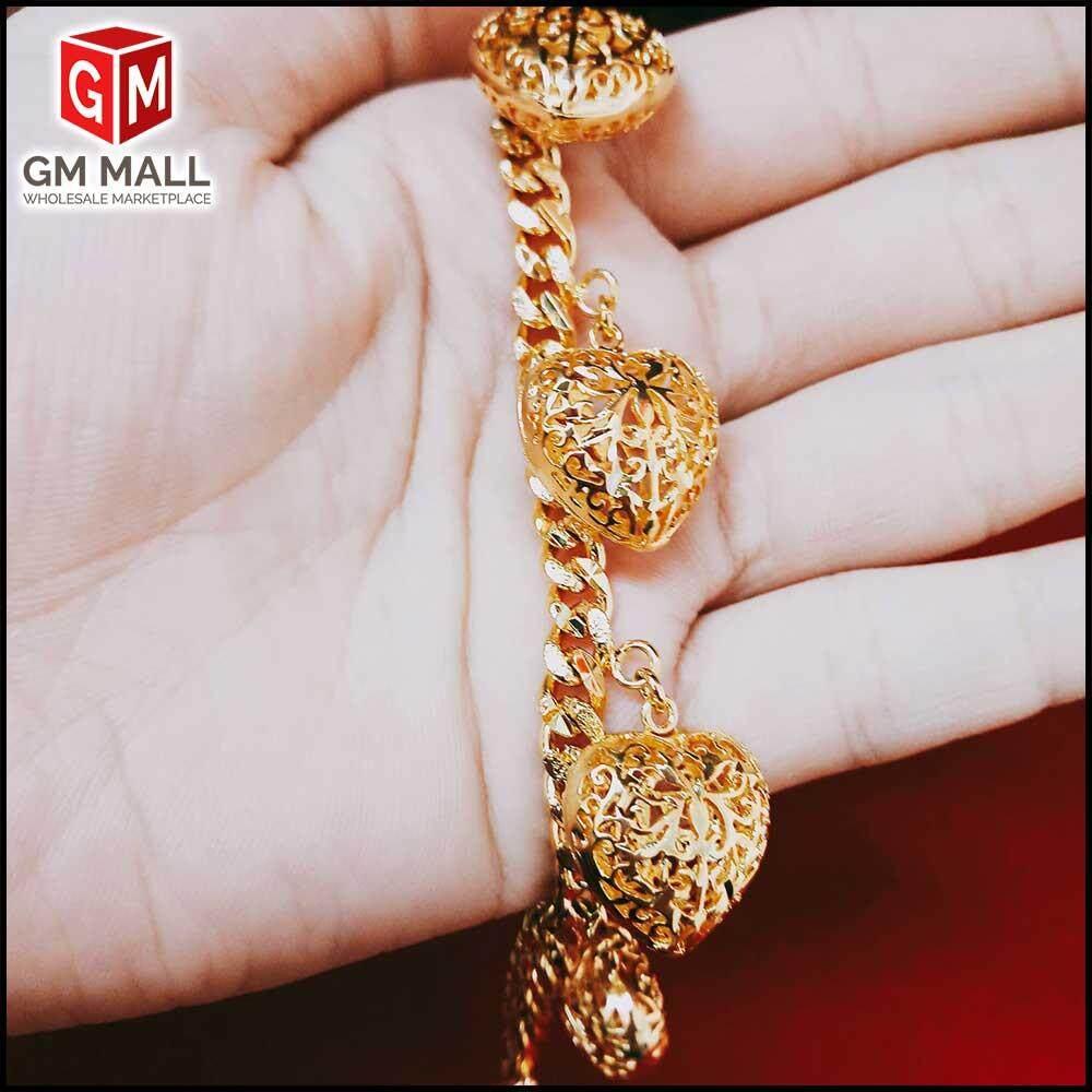 Emas Korea Jewellery - Rantai Tangan Papan + Love Sangkar (EK-2022-6)