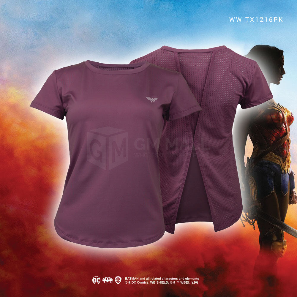 WONDER WOMAN DC Exclusive PINK Women Yoga Training Tee - Sport Training Running Shirt [WWTX1216PK]