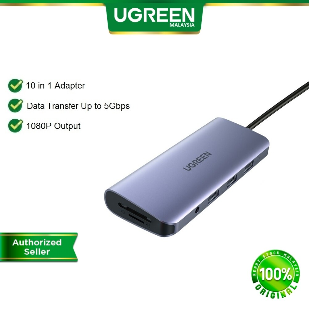 UGREEN USB C HUB 9 / 10 in 1 USB C to HDMI VGA Card Reader RJ45 3.5mm Audio Jack 100W / 60W PD Power Deliver Adapter Hubs for Ipad pro 2020 MacBook Samsung Galaxy S8 S9 S10 Note 9 Huawei Mate 10 P20 P30 Lenovo miix510 Surface USB-C Type C Type-C TypeC