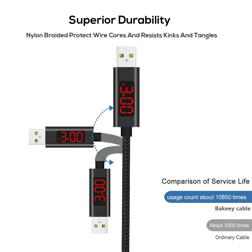 Mobile Cable & Chargers - 3A Type-C Digital Voltage Current LED Display Pure Copper Data Cable Nylon 1M