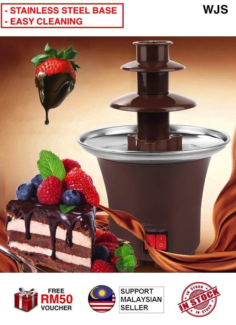 (STAINLESS STEEL BASE) WJS Portable Mini Chocolate Fondue Fountain Chocolate Fountain Koko Fountain Heating Electric Machine Party Food Event Food CHOCOLATE STRAWBERRY [FREE RM50 VOUCHER]